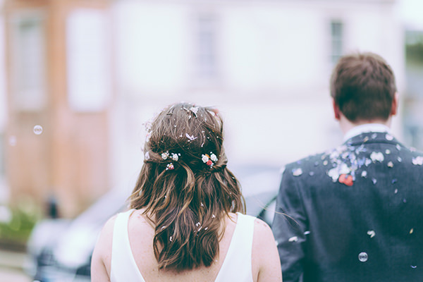 Eclectic Colourful Quirky Village Hall Wedding Flower Twist Bohemian Bride Hair  http://missgen.com/