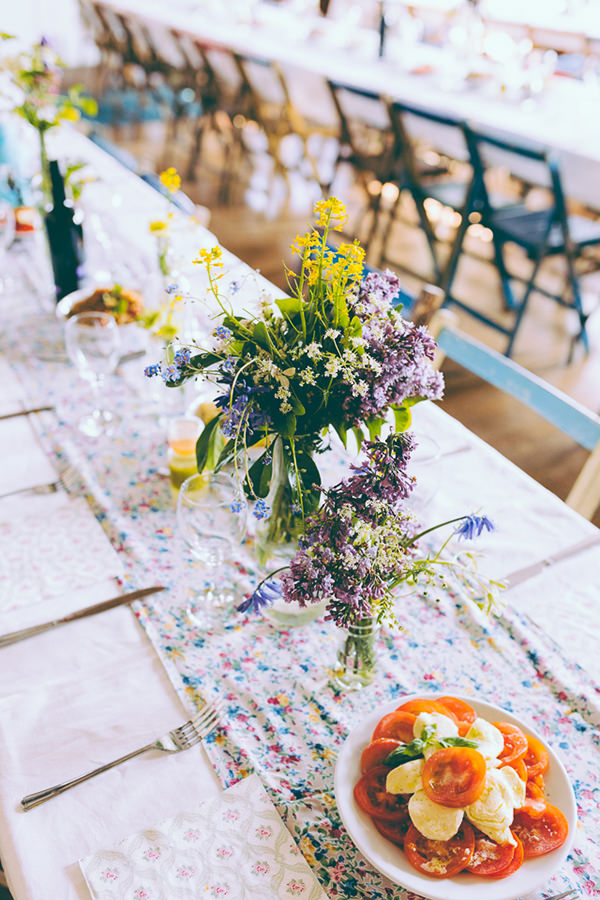 Eclectic Colourful Quirky Village Hall Wedding Floral Table Cloths Wild Homegrown Flowers http://missgen.com/
