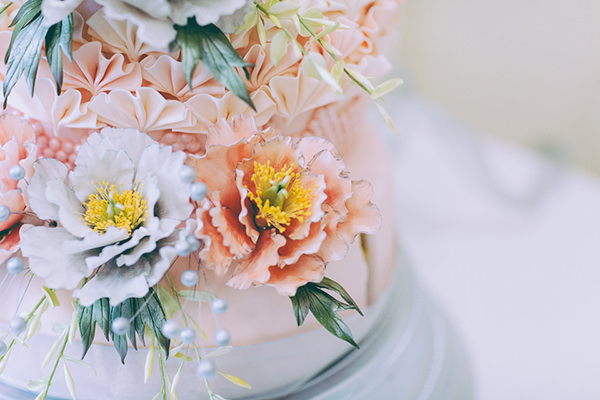 Eclectic Colourful Quirky Village Hall Wedding Edible Flower Cake http://missgen.com/