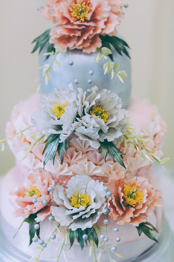 Eclectic Colourful Quirky Village Hall Wedding Edible Floral Cake http://missgen.com/