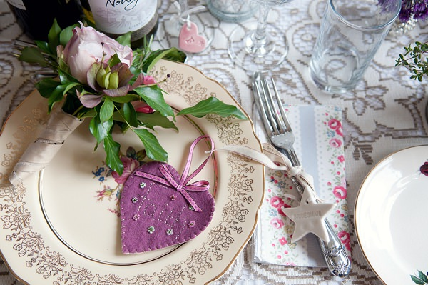 Wedding Heart Stitch Felt Place Setting Name http://www.sarareeve.com/
