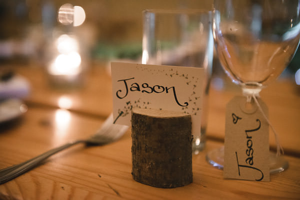 Wood Log Place Name Wedding Setting http://www.tinoandpip.co.uk/