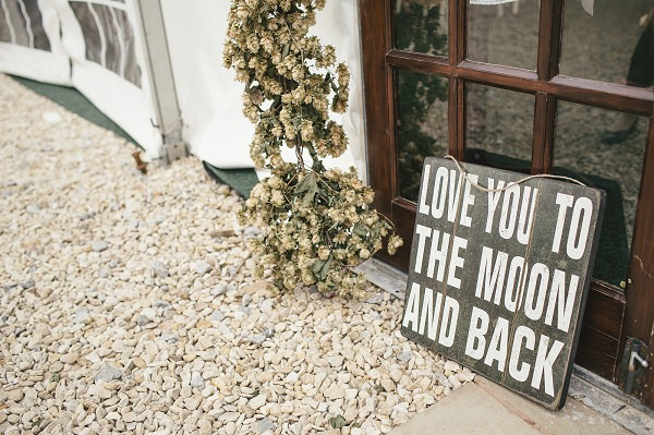 Organic Farm Stone Circle Wedding Love You To The Moon and Back Sign http://www.kat-hill.com/