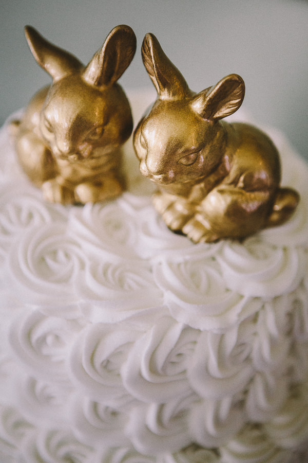 Country Pink Wedding Gold Bunny Cake Toppers http://kevinbelson.com/
