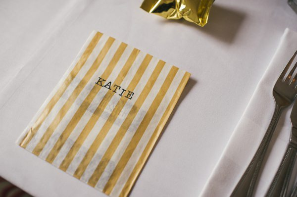 Wedding Place Name Stripy Bag Setting http://alexa-loy.com/