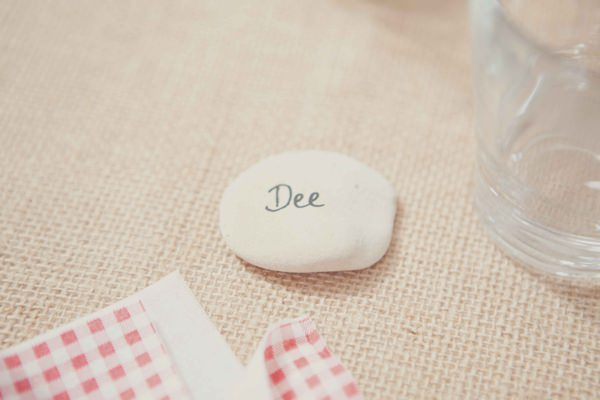 Wedding Place Name Setting Pebble Stone http://www.philippajamesphotography.com/