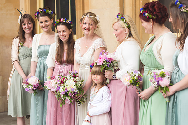 Country Folksy Pre-Raphaelite Wedding Pink Green Bridesmaids http://www.georgimabee.com/