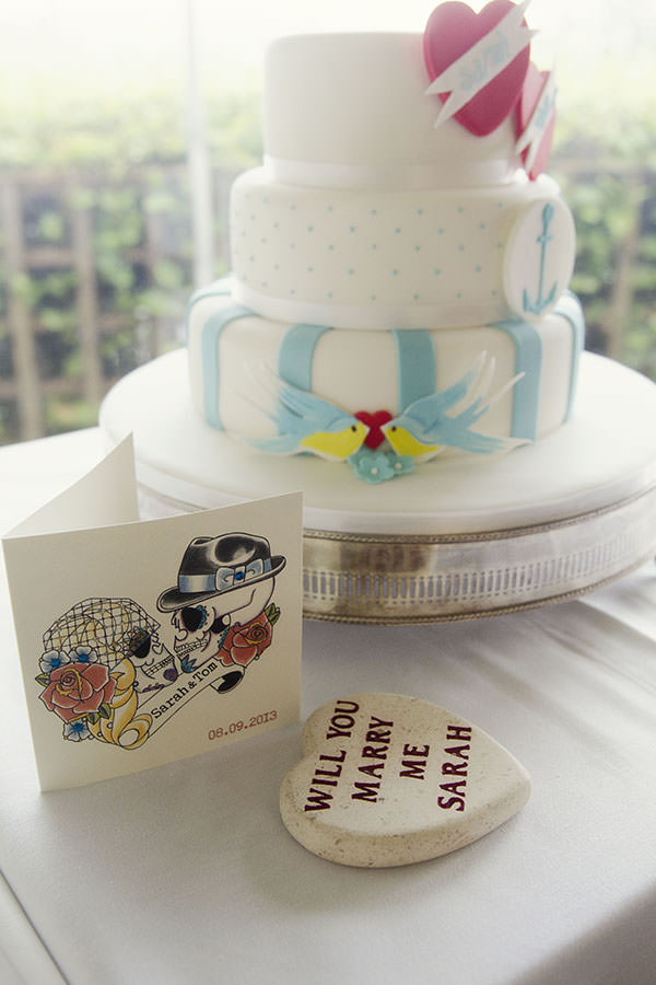 1950s Seaside Wedding Quirky Cake http://www.amyradcliffephotography.com/