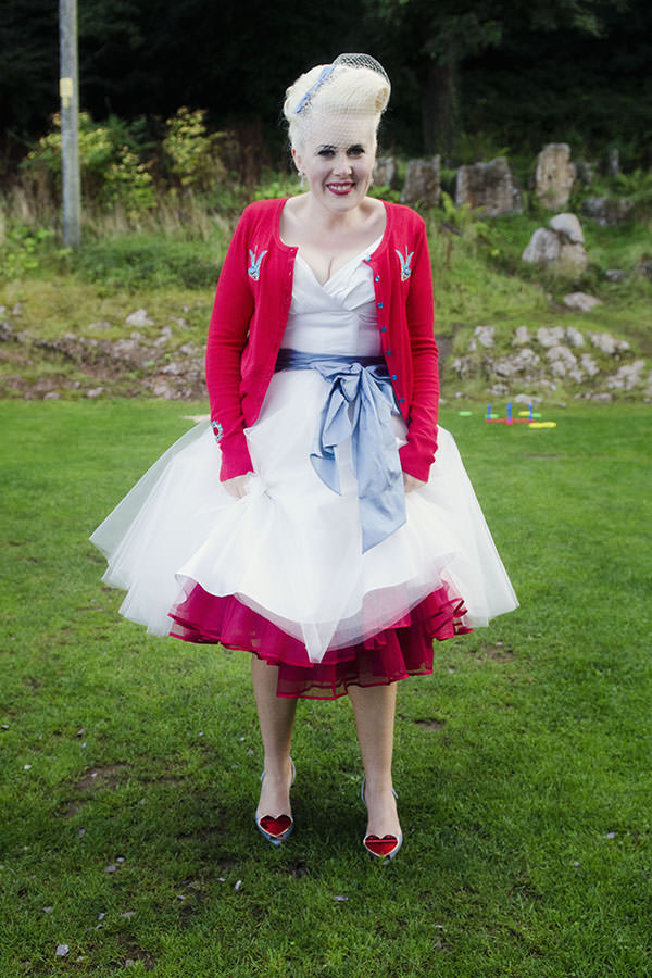 1950s Seaside Wedding Candy Anthony Dress Bride Petticoat Cardigan http://www.amyradcliffephotography.com/