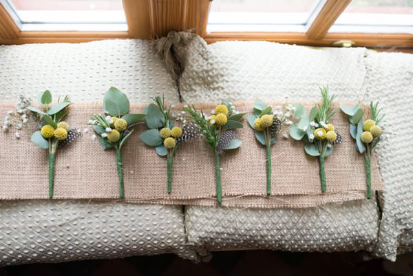 Family Farm Yellow Marquee Wedding Buttonholes http://www.fayecornhillphotography.co.uk/