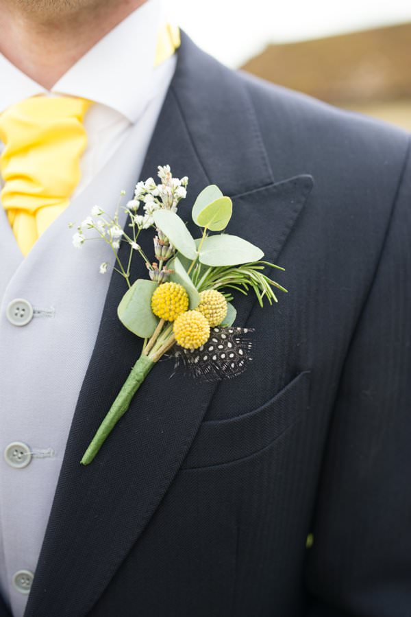 Family Farm Yellow Marquee Wedding Buttonhole Groom http://www.fayecornhillphotography.co.uk/
