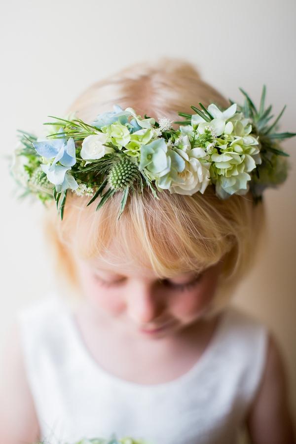 Fresh Fun Relaxed Blue & Green Wedding Flower Girl Flower Crown Garland http://www.katherineashdown.co.uk/