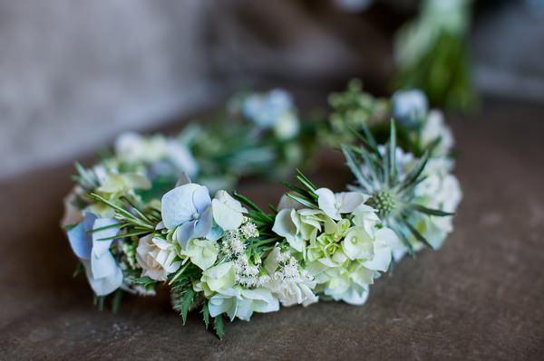 Fresh Fun Relaxed Blue & Green Wedding Flower Crown http://www.katherineashdown.co.uk/