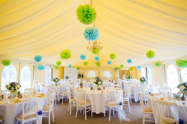 Fresh Fun Relaxed Blue & Green Wedding Pom Poms http://www.katherineashdown.co.uk/