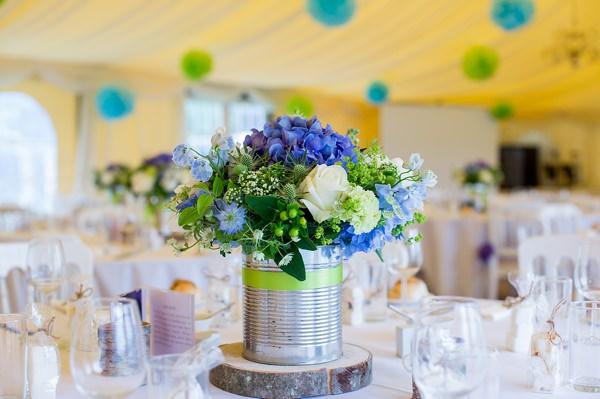 Fresh Fun Relaxed Blue & Green Wedding Tin Flowers http://www.katherineashdown.co.uk/