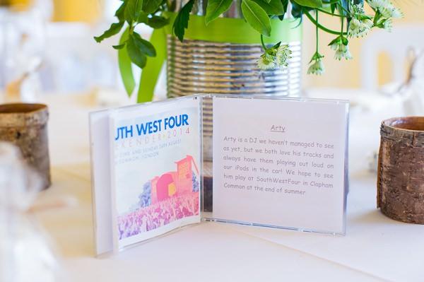 Fresh Fun Relaxed Blue & Green Wedding CD Table Names http://www.katherineashdown.co.uk/