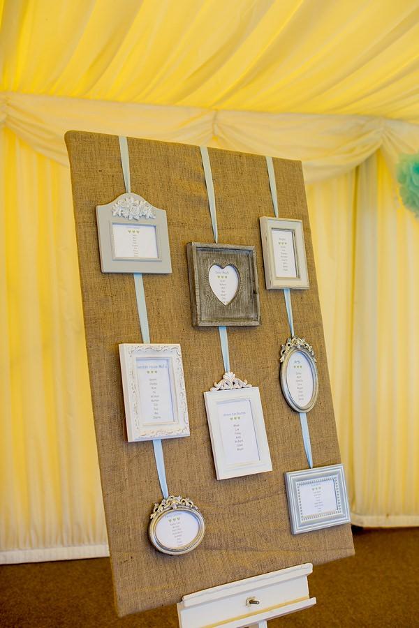 Fresh Fun Relaxed Blue & Green Wedding Hessian Frame Table Plan http://www.katherineashdown.co.uk/