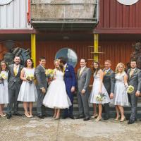 London Warehouse Yellow Grey Wedding http://kristianlevenphotography.co.uk/