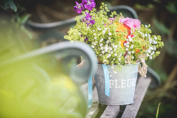 Colourful Festival Wedding Bucket Wild Flowers http://www.pixiesinthecellar.co.uk/