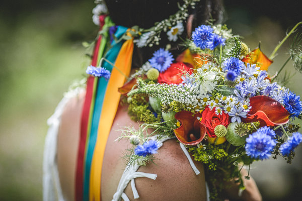 Colourful Festival Wedding Colourful Bride Bouquet Ribbon Halo Flower Crown  http://www.pixiesinthecellar.co.uk/