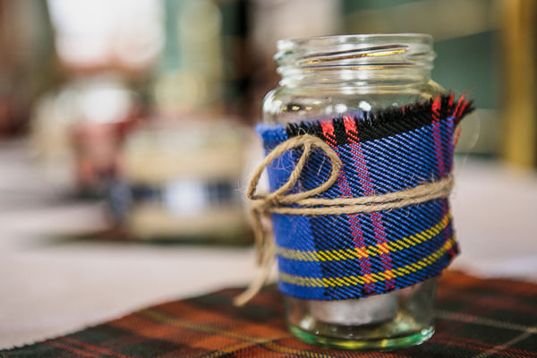 Rustic Cosy Wedding Tartan Jam Jars http://www.tierneyphotography.co.uk/