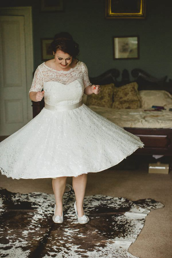 Colourful Homemade Origami Wedding Flossy Dossy Lace Dress Bride http://christophercurrie.co.uk/