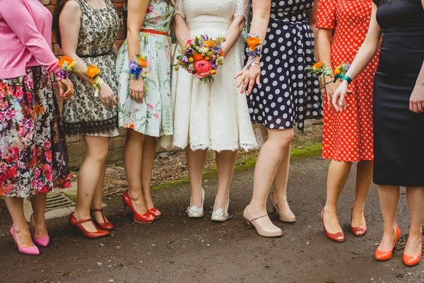 Colourful Homemade Origami Wedding Mismatched Bridesmaid Wrist Corsages http://christophercurrie.co.uk/