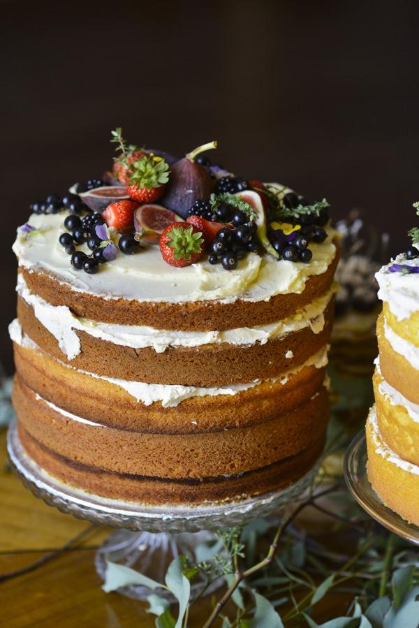 Ethereal Woodland Wedding Ideas Naked Cake Sponge Fruit http://www.careysheffield.com/