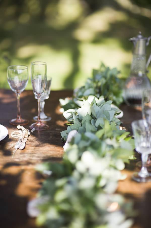 Ethereal Woodland Wedding Table Garland Flowers Foliage Ideas http://www.careysheffield.com/