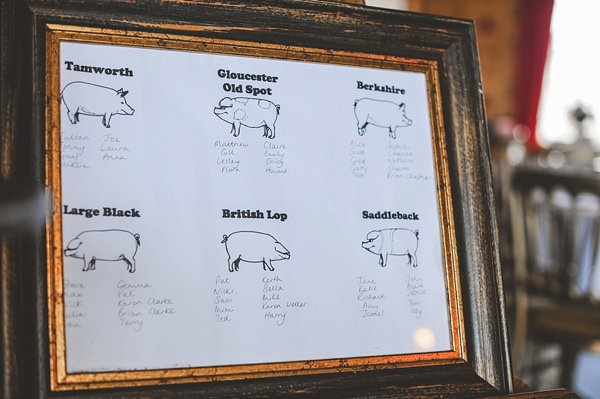 Rustic Barn Blue DIY Wedding Seating Plan Frame Pigs  http://emma-katephotography.com/