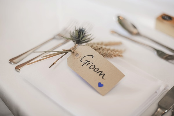 Rustic Barn Blue DIY Wedding Luggage Tag Place Name http://emma-katephotography.com/