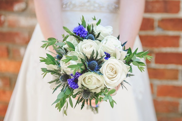 Rustic Barn Blue DIY Wedding White Blue Bouquet Rose Thistle   http://emma-katephotography.com/