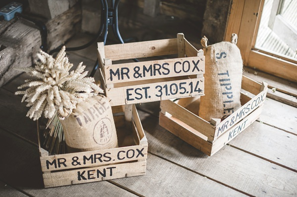 Rustic Barn Blue DIY Wedding Crate Wheat Decor http://emma-katephotography.com/