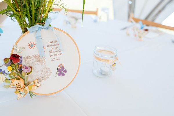 Picnic Countryside Fete Wedding Embroidery Hoop Table Decor http://www.daffodilwaves.co.uk/
