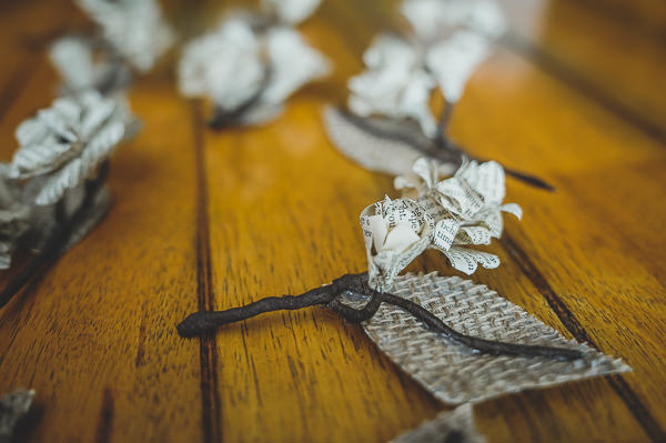 Magical Crafty Outdoorsy Village Hall Wedding Paper Buttonholes http://www.foxleyphotography.com/
