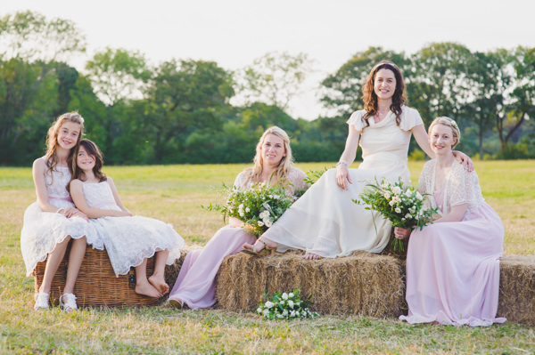Vintage Wildflower Meadow Wedding Pink Bridesmaids http://annamorganphotography.co.uk/