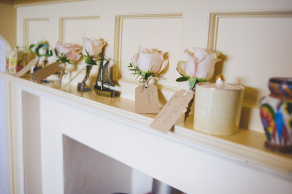 Vintage Wildflower Meadow Wedding Rose Buttonholes http://annamorganphotography.co.uk/