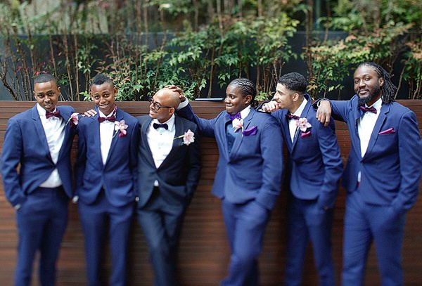1920s Elegant Atrium London City Wedding Bow Ties Blue Suits Groom http://www.mikiphotography.info/