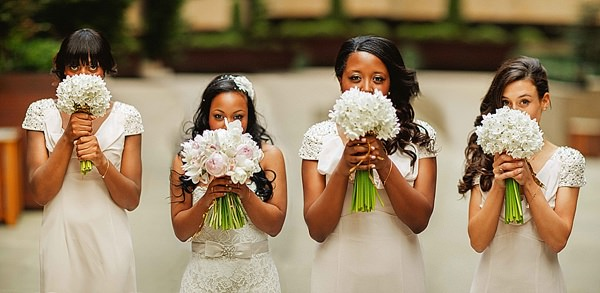 1920s Elegant Atrium London City Wedding White Bouquets http://www.mikiphotography.info/