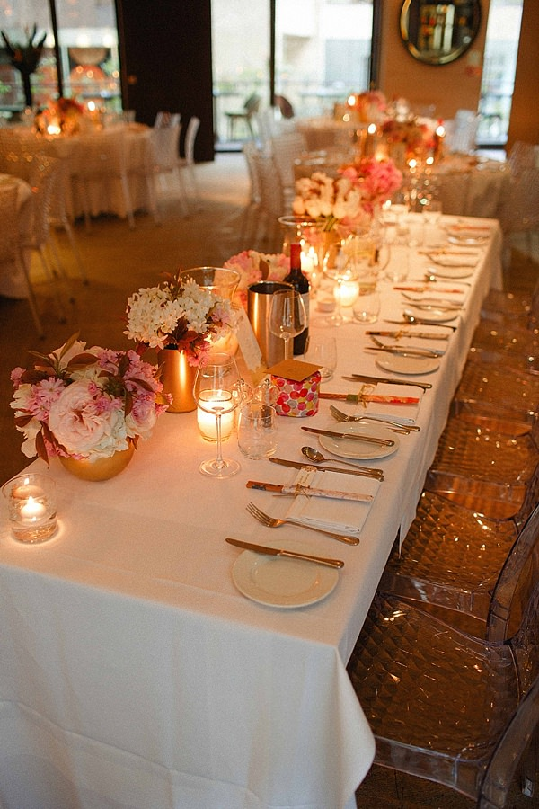 1920s Elegant Atrium London City Wedding Pink Gold Decor http://www.mikiphotography.info/