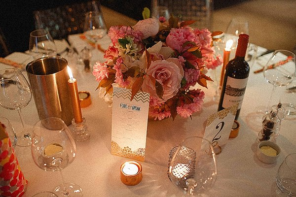 1920s Elegant Atrium London City Wedding Pink Flowers Candles http://www.mikiphotography.info/