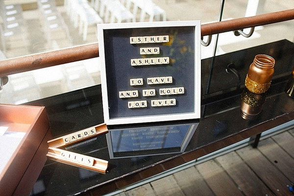 1920s Elegant Atrium London City Wedding Scrabble Sign http://www.mikiphotography.info/