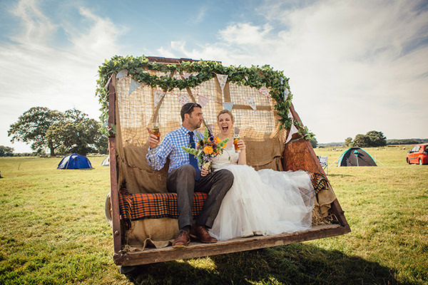 Fun Camping Country Outdoor Wedding with Homegrown Flowers
