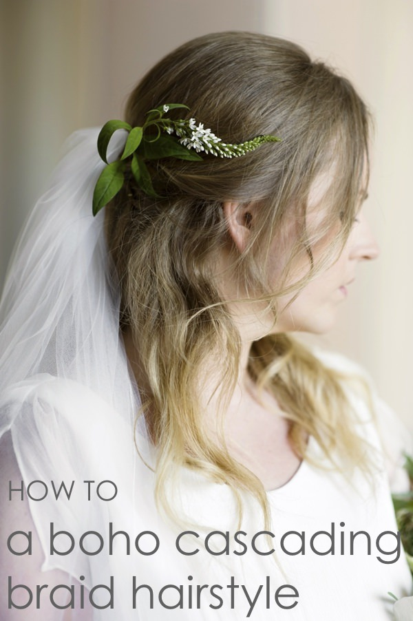 DIY Bridal Hair Tutorial. How to Create a Boho Cascading Braid & Waves
