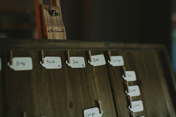 Quirky Chilled Party Wedding Peg Luggage Tag Table Plan http://sdphotography.co.uk/