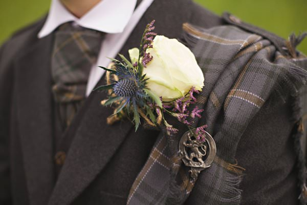 Pretty Pastel Romantic DIY Wedding Rose Thistle Buttonhole http://www.milkbottlephotography.co.uk/