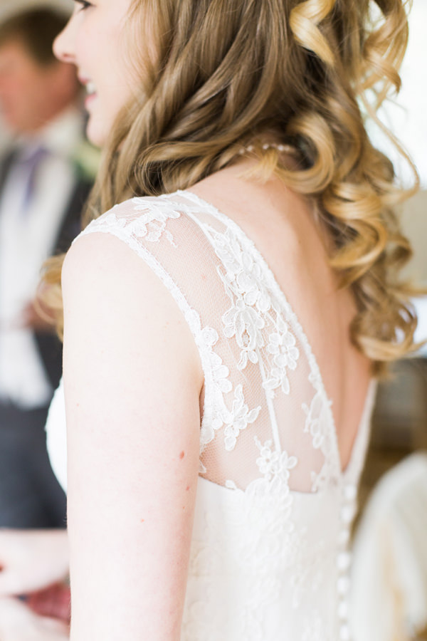 Lace Sleeve Dress Bride Hair Curls Waves Pretty Relaxed Beautiful Traditional Wedding http://www.victoriaphippsphotography.co.uk/