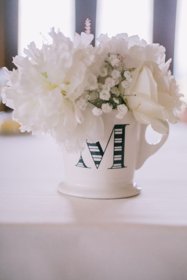 Stylish White DIY Floral Filled Barn Wedding Alphabet Initial Letter Cup Mug Flowers White http://www.chrisbarberphotography.co.uk/