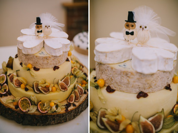 Stylish White DIY Floral Filled Barn Wedding Cheese Cake Tower http://www.chrisbarberphotography.co.uk/