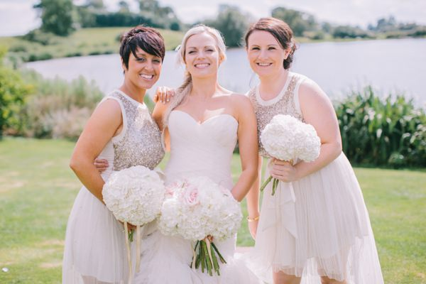 Stylish White DIY Floral Filled Barn Wedding Sequin Bridesmaids Hydrangea Bouquets http://www.chrisbarberphotography.co.uk/